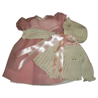 "Effanbee 20"" Dy-Dee Lou Mint Organdy Windowpane Dress With Darling Rosebud Crochet Sweater Bonnet Set"