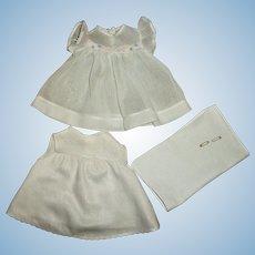 "Effanbee 15"" Dy-Dee Jane Organdy & Pastel Trim Dress With Birdseye Diaper & RARE Matching Slip"