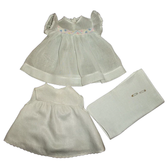 "Effanbee 15"" Dy-Dee Jane Organdy & Pastel Trim Dress With Birdseye Diaper & RARE Matching Slip"