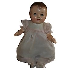 Cute Composition~Cloth Baby Doll With Dimples and Tin Eyes