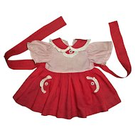 Cute Red and White Cotton Dress For Chubby Girl Doll