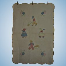 Vintage Quilt Hand Quilted With Sunbonnet Sue and Overall Sam Appliques
