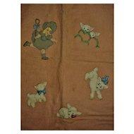 Hand Sewn Little BoPeep Wool Appliqued Blanket
