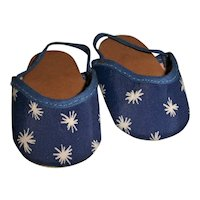 """Mint!!  Blue Slippers With White Starburst Design For 18"""" Composition or Hard Plastic Doll"""