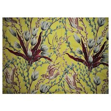 Fabulous 4 Yards of Vintage Barkcloth Tulips Pussy Willows and Doves