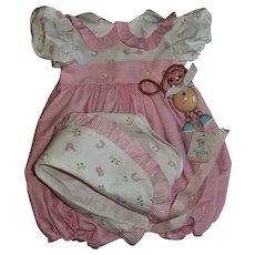 "Hard To Find Effanbee 20"" Dy-Dee Lou Gingham Alphabet Sunsuit With Matching Bonnet"