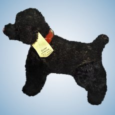 Vintage German Made Hermann Doll Size Black Dog With Collar and Tags