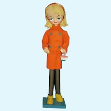 Holiday Fair Elaine Silk Screened 1960s Mod Large Eye Pose Doll