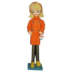 Holiday Fair Elaine Silk Screened 1960s Mod Large Eye Pose Doll