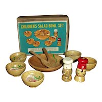 Cute Boxed Children's Doll Size Dish Salad Bowl Set Complete Mint!