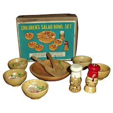 Cute Boxed Children's Doll Size Dish Salad Bowl Set Complete Mint!