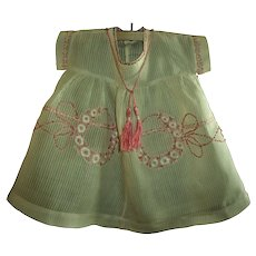 Sweetest  Embroidered Antique Doll Dress For Toddler or Baby Dolls