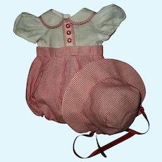 """Vintage Effanbee  15"""" Dy-Dee Jane Romper and Bonnet Set"""