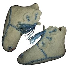 Sweet Vintage Embroidered Wool Felt Booties High Top Shoes