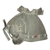 """Pretty Organdy With Flowered Ribbon Dress & Bonnet For 15"""" Dy-Dee and Friends"""