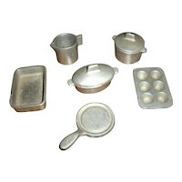 Set of Small Doll Size Toy Cast Metal Pots and Pans