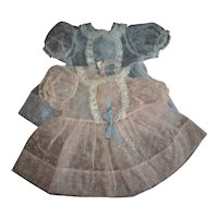 Twin Doll Dresses PInk and Blue Flocked Nylon factory Party Dresses For Tiny Tears and Friends