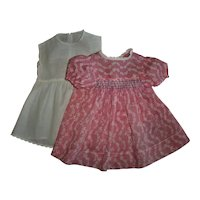 """Pink White Smocked Dress With Slip For Your 18""""-20"""" Composition Shirley Temple Chubby Girl Dolls"""
