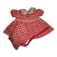 Vintage 1930s Arranbee Art Deco Print Dress and Bonnet