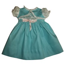 Turquoise Smocked Bolero Dress With Embroidered Organdy Bodice For Tiny Tears & Friends
