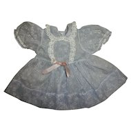 Vintage Pretty Blue Flocked Dress For Tiny Tears And Friends