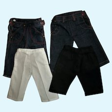 Four Pairs of Vintage 1950s Terri Lee/Jerri Lee Pants Jeans and Slacks