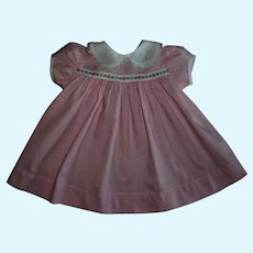 """Vintage Pink Dress With Embroidered Flower Trim For Effanbee 20"""" Dy-Dee Lou"""