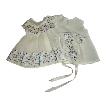 """Sweet Ideal Betsy Wetsy Organdy Dress Bonnet Set With Slip For 15""""-16"""" Baby Doll"""