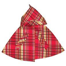 MINT!!  Red Denim Plaid Hooded Raincoat Cape For Hard Plastic or Composition Dolls