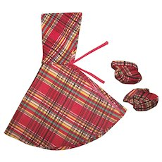 """Vintage Red Plaid Raincoat Cape With Matching Booties 17""""-18"""" Slim Doll"""