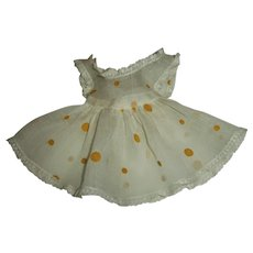 Vintage Ideal Yellow Dotted Organdy Pinafore For Toni P-90