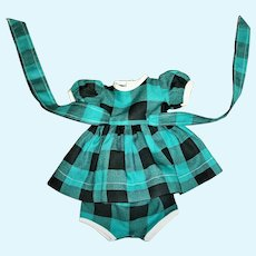 """Nicely Made Black and Green Dress With Matching Panties For 14"""" Ideal Toni and Friends"""