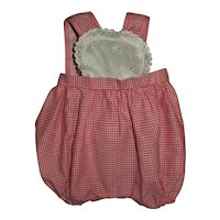 Pink Checks With Eyelet Bib Sunsuit For Dy-Dee Jane Tiny Tears and Friends