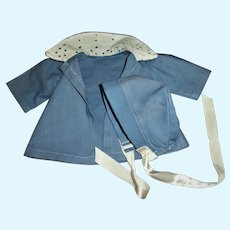 """Cute Vintage Blue Coat With Eyelet Collar For 13"""" Tiny Tears and Friends"""