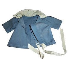 "Cute Vintage Blue Coat With Eyelet Collar For 13"" Tiny Tears and Friends"