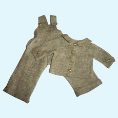 """Vintage Linen Bib Overalls With Matching Jacket For 14""""-15"""" Hard Plastic Girls"""