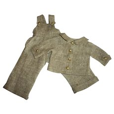 "Vintage Linen Bib Overalls With Matching Jacket For 14""-15"" Hard Plastic Girls"