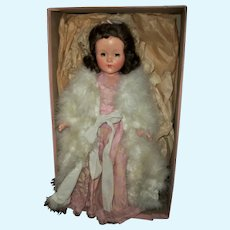 Gorgeous Boxed Mint Effanbee Composition Little Lady In Original Gown & Marabou Coat
