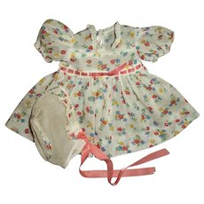 Mint!! RARE Tagged Effanbee Mold 1 Dy-Dee Flowered Dress and Bonnet Set