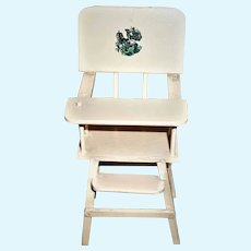 Vintage Wooden Highchair With Scottie Dog Decal For Smaller Baby Dolls