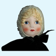 1930s Era Tagged Chad Valley  Cloth~Velvet & Mohair Sweet Winter Dressed Doll