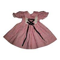 "Vintage Factory Red Check Dress For 19"" Hard Plastic Dolls"