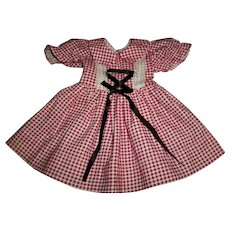 "Vintage Factory Red Check Dress For 19"" Hard Plastic Dolls"
