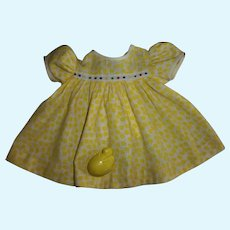 """Vintage Yellow Flowered Linen Dress For 15"""" Effanbee Dy-Dee With Doll Easter Chick/Egg Rattle"""