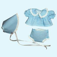 """Vintage Cute Diaper Top,  Diaper Cover & Bonnet Set For 10"""" Vinyl Baby Dolls"""