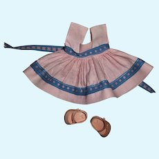 Tagged Vogue Ginny Pink Sundress With Blue Trim and Pink Shoes