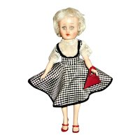 """Vintage 10.5"""" All Vinyl Horsman Cindy With Twist Waist and Jointed Knee Walker"""