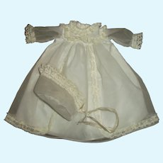 """Vintage Factory Christening Gown With Bonnet For 14""""-15"""" Baby Doll"""