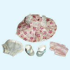 Cute Vintage Nancy Ann MUFFIE Pink Flowered Dress With Panties, Socks & Shoes