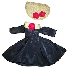 Vintage Taffeta Dress & Hat For Belle Fashion Doll Little Miss Margie